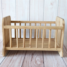 Cute Boys Bed Rustic Baby wood Bed Solid Rectangle Wooden Box studio Photography Props Newborn Wood Craft Props