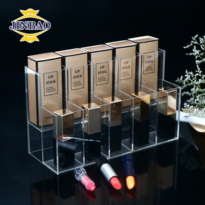 JINBAO New Hot Selling Clear Cube Deco Cosmetic Box Crystal Acrylic Makeup Display Organizer