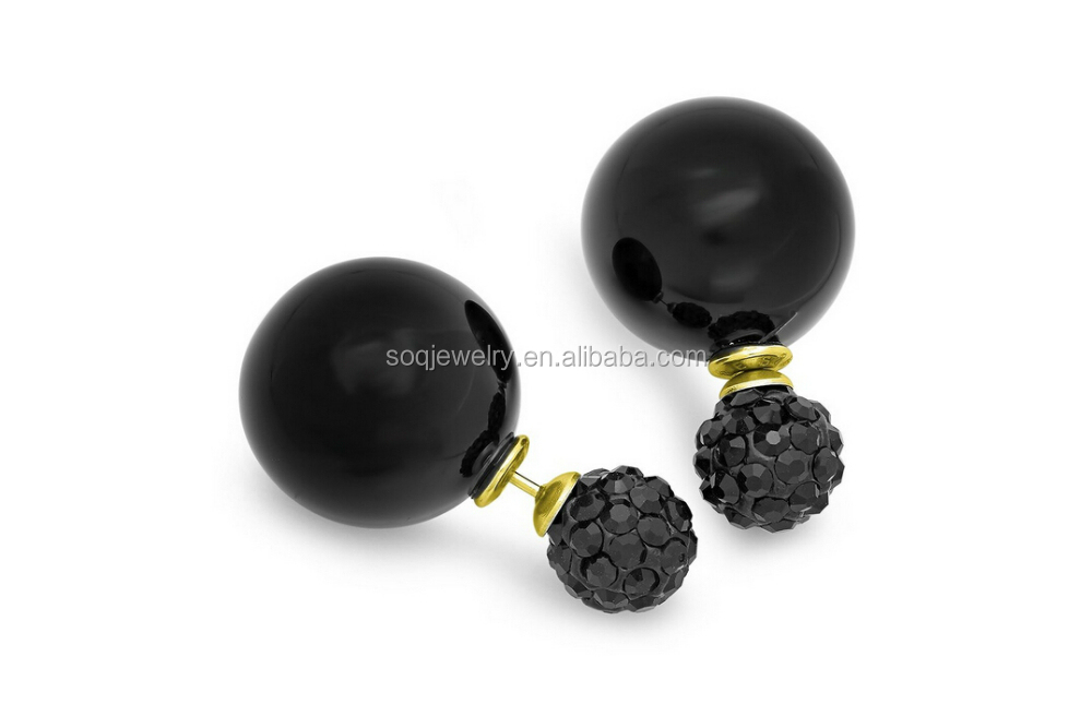 Personalized Austrian Round Small Black Women Pearls Big Elegant Stud Earrings