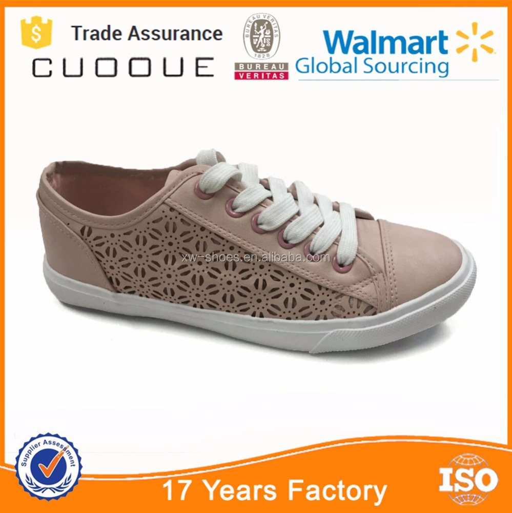 2016 lace up PU Vulcanized women shoes