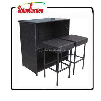 High Quality Modern Outdoor Pe Ranttan Furniture Patio Coffee Table Chair/3pcs Bar Sets