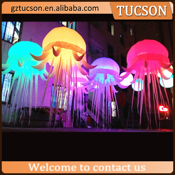 RGB color changing inflatable led hanging balloon jellyfish for event decoration