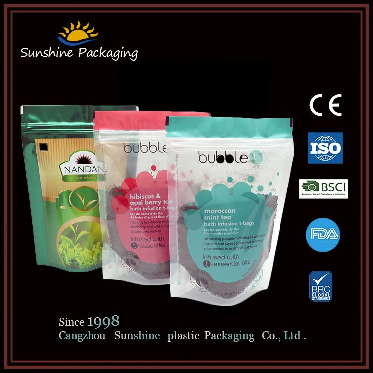 CUSTOMIZED reusable food pouch self adhesive zip lock nylon packing plastic poly bag for promotion use