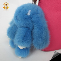 Wholesale handmade mink fur gift cute rabbit keyrings bag charm