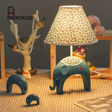 ROOGO cheap bedroom decoration customized resin blue elephant table lamp