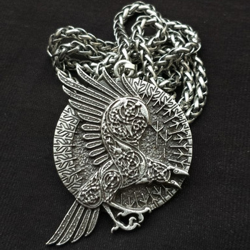 NL00067 WT vintage alloy round pendant necklace wholesale punk bronze plated crow necklace