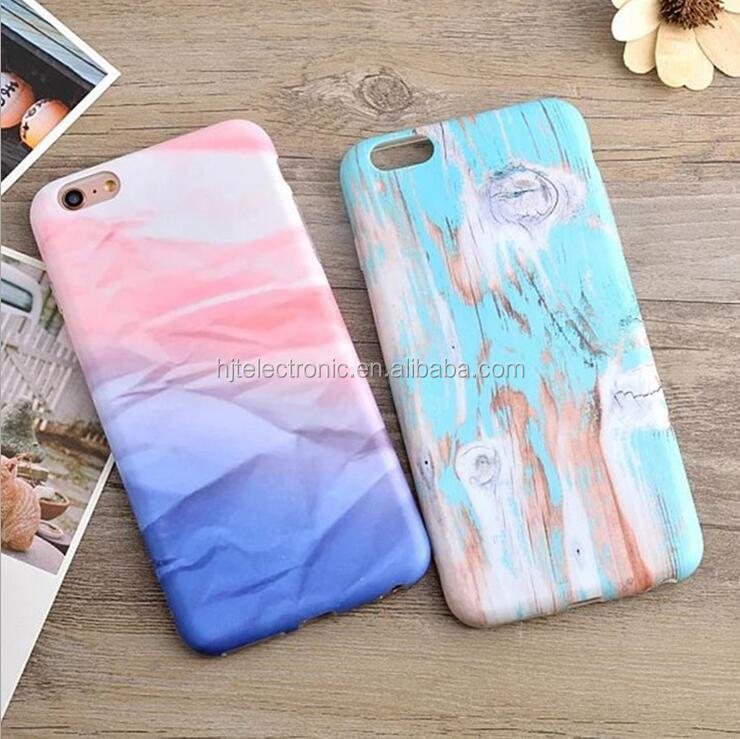 Fresh wood grain frosted TPU mobile phone case popular crepe paper IMD process cases for iPhone6 6S
