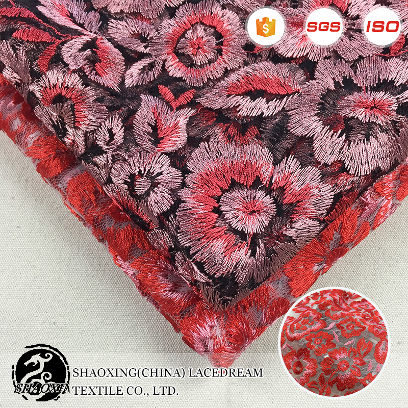 china wholesale 2017 high quality fashion red saree embroidery 3d bridal lace fabric