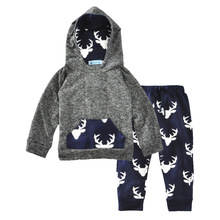 Newborn Baby Boy Girl Spring Autumn Warm Hoodie T-shirt Top + Pants Sweatsuit Outfits Set Toddler Kids Clothes