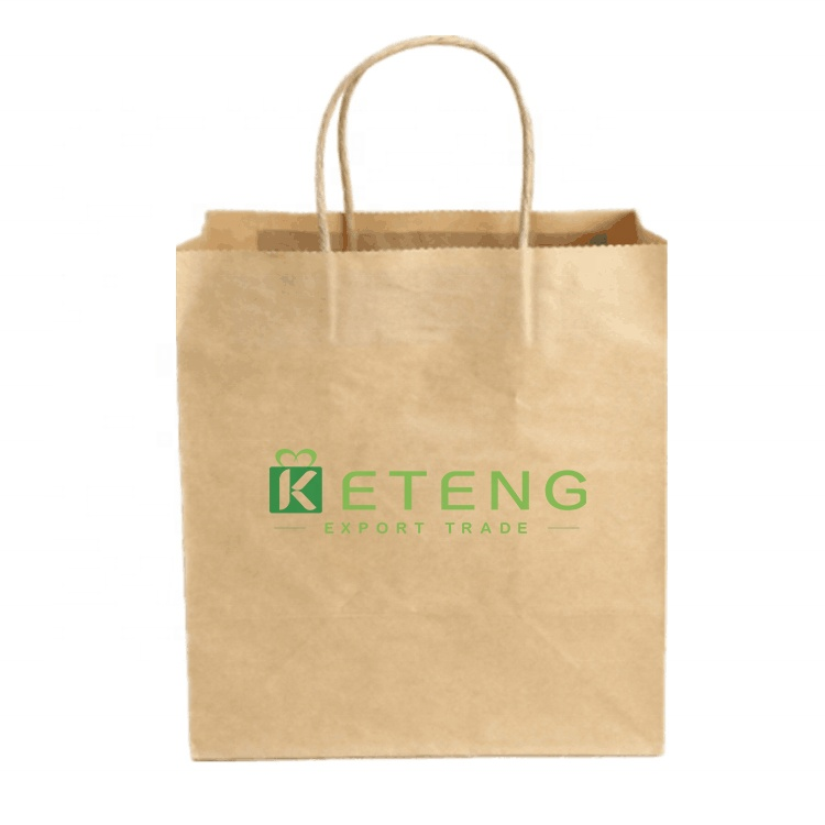 Customized kraft shopping offset printed paper bag with handle