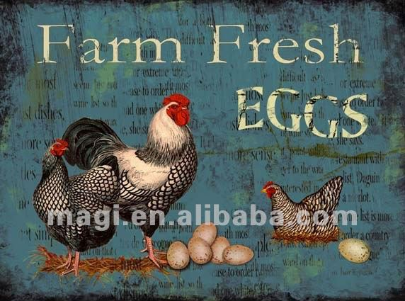 Vintage Rooster Fresh Eggs Chic Decorative Metal Signs