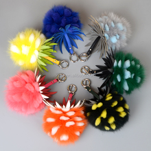 new style fashion fox fur ball key chain / fur ball keychain / fox fur pom poms