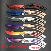 Rainbow Balisong CS GO Trainer Knife Practice Training Dull Knife from Manufacturer