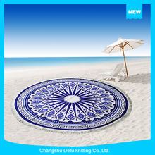 Hot Selling Printed Microfiber Beach Towel Round With Tassels