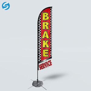 Outdoor Printing Advertising Promotional Brake Service Beach feather Flag with Spike or Cross Base