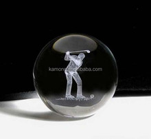 Fashion design 3d laser engraved golf crystal ball for Christmas gift