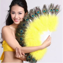PM-138 High quality cheap 28 folding peacock feather fan