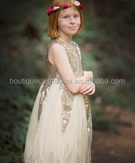 latest children frocks designs fancy dresses for girls party wear shiny golden sequin chiffon fluffy dress