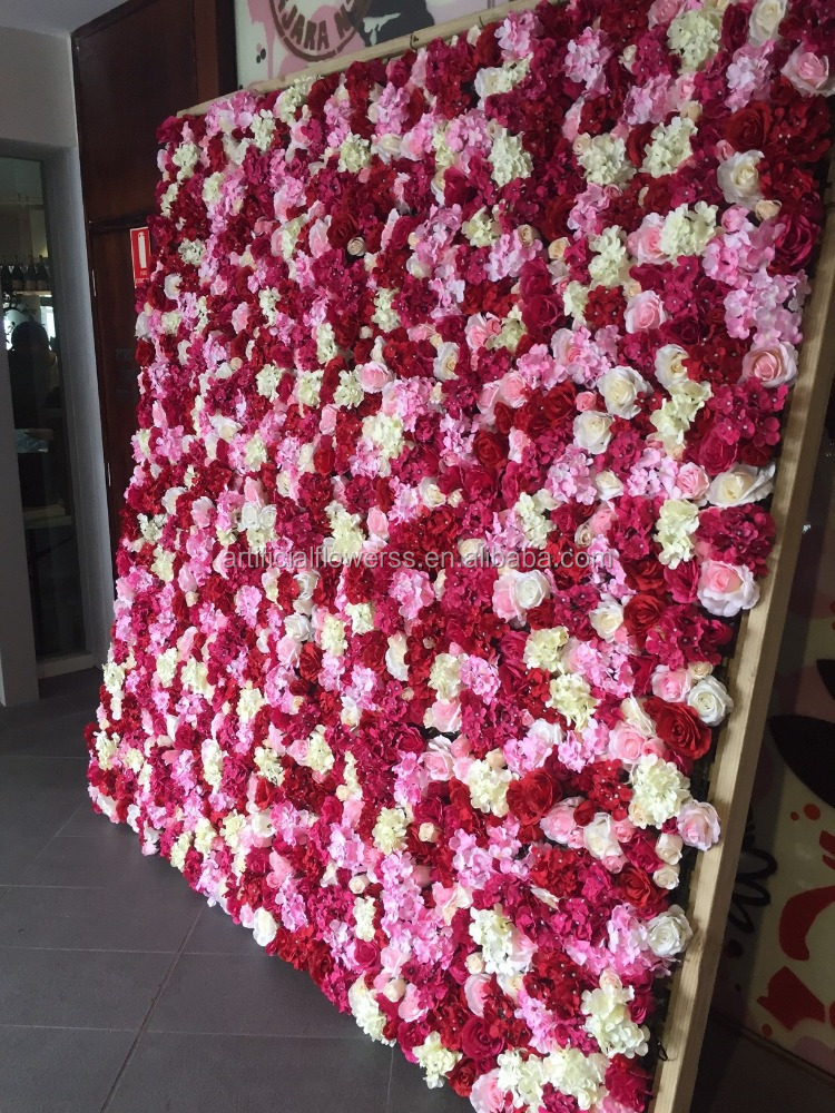 2017 artificial silk <strong>wedding</strong> rose flower wall