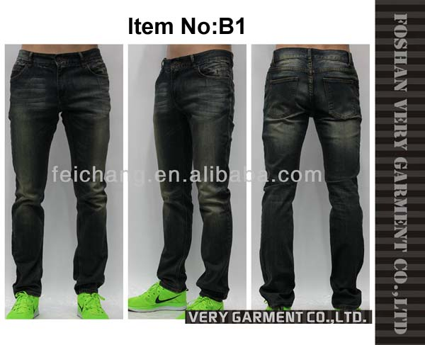 new style jeans pent men with moustache hand brush