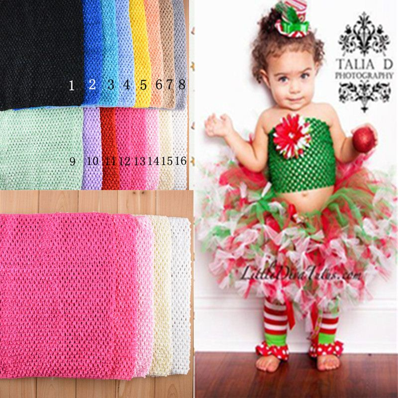 New fashion Colorful Solid 20 Colors kids crochet headbands crochet tutu Top 12 inch 34CM32CM crochet tube top