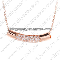 Fine Different Types Of Chains CZ Rose Gold Plating Jewelry Necklace Pendant