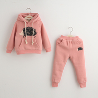 Hot sale 2015 fashinable hooded thick cotton sportswear sets for kids two-piece baby tracksuit