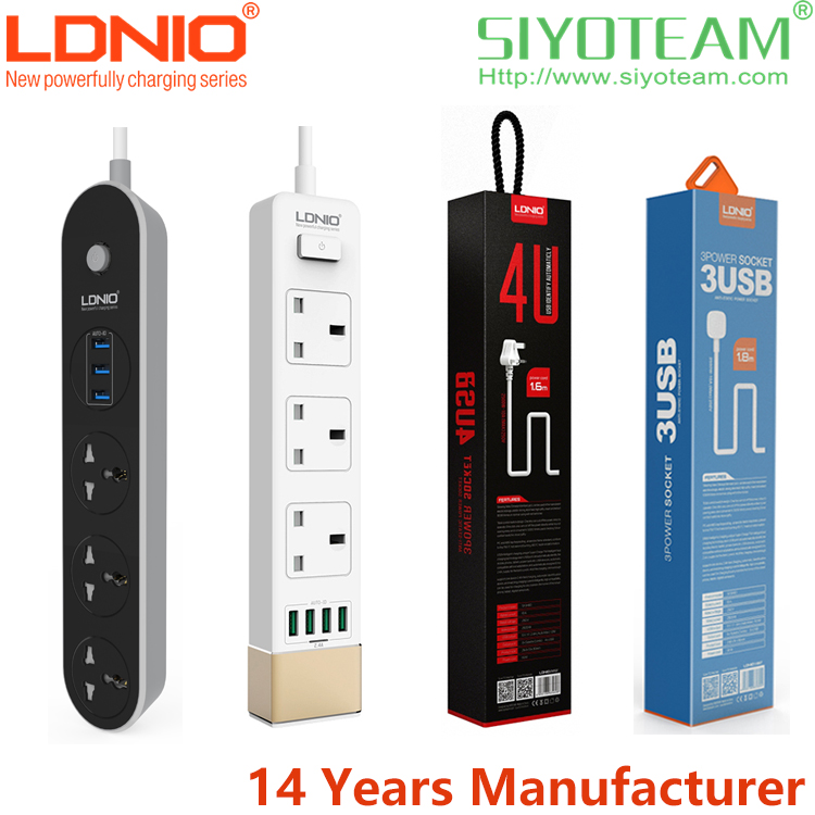 power strip surge protector 3 4 6 USB 2500W 1.6m cord LDNIO extension socket