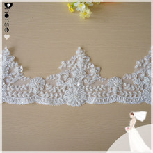 DHBL1831 White Corded Bridal Lace Trim 15cm Wide Scalloped Edging Fabric By The Yard