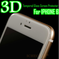 true 3D full cover tempered glass screen protector for iphone 6 with black and whie color optional