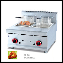 Commercial Counter Top 2 Basket Gas Deep Fryer Potato Chips Fryer Machine 8L/Tank with Safety Device