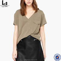 Wholesale comfortable V neck blank fitted plain no brand t-shirtd private label