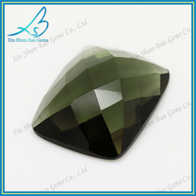 Flat back faceted cut dark olive glass gemstone dealers