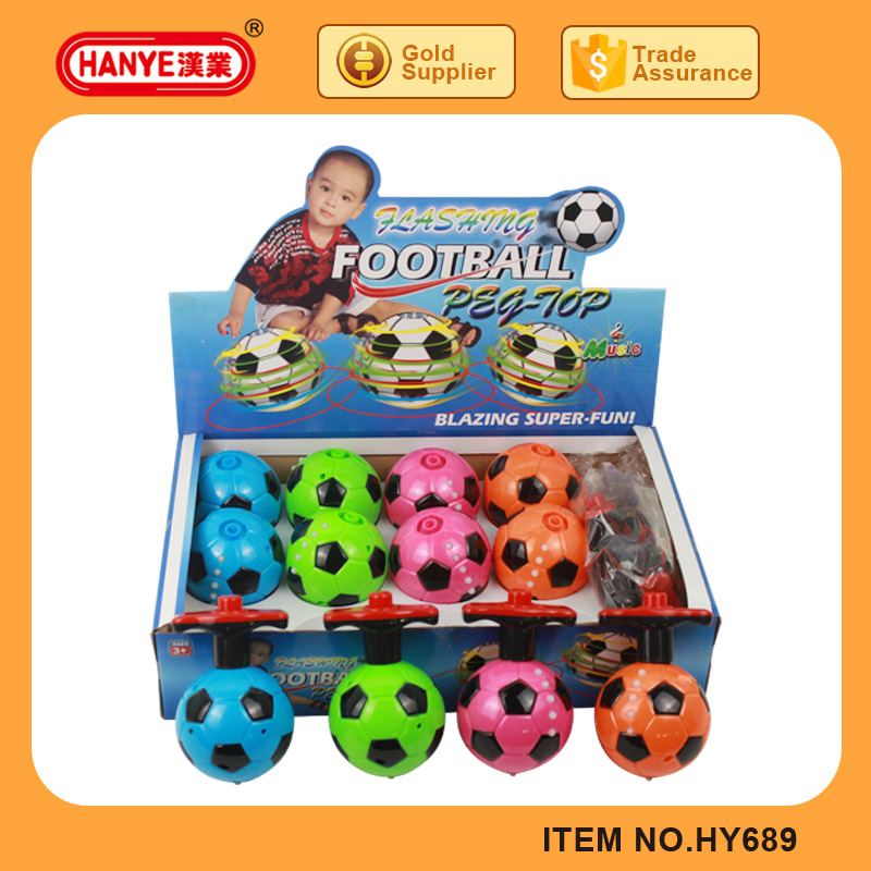 HY689 Flashing and Music Football Tops Spin 12PCS