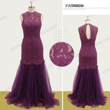 High neck slim-line lace long zipper mother of bride sexy free prom dress