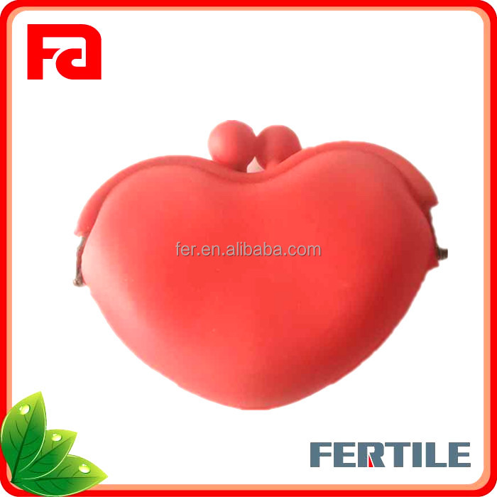 W FTL606053 Cheap heart shape silicone purse wallet/silicone coin purse/silicone beach bag