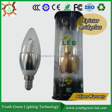 4 Years warranty! E12 LED Candle Light 6W, LED Candle E14 ( Dimmable 105LM/W 2600K-2800K)