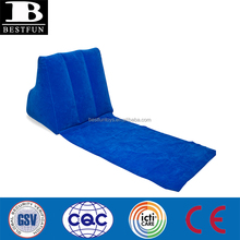 high quality wedge inflatable backrest with mattress folding inflatable beach backrest portable flocking backrest wedge cushion