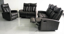 Modern office design commercial living room grey leather sofa rock recliner 1 2 3 sofa set