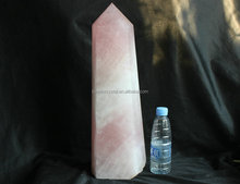 16.28kg Natural Pink Rose Quartz Crystal Point Tower Healing, Large Crystal