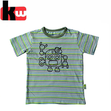 2017 Newest Style Stripe YD Robot Print Cotton Kids T shirt Boys Clothing Wholesale