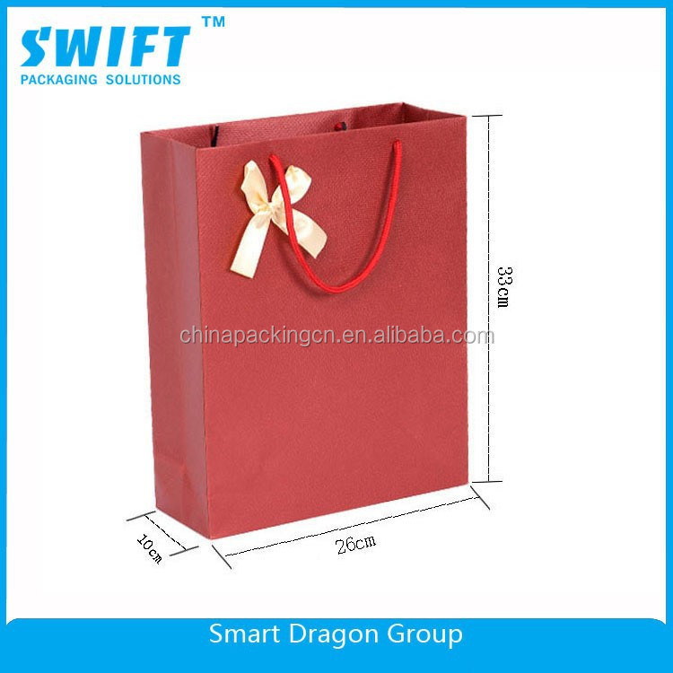 2015 hot sale Recycled Brown/white/Red Grocery Kraft Paper Bag