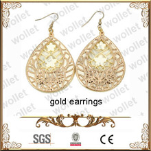latest indian hollow carved drop earrings gold jhumka earrings