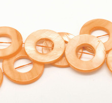 "Orange Circle/ Ring Shell Loose Beads 25mm, 40cm(15-3/4"") long, sold per pack of 2 strands,dorabeads"