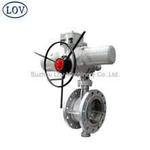 Electric Actuated/Handwheel Operated Triple Offest Butterfly Control Valve With Super Gear box