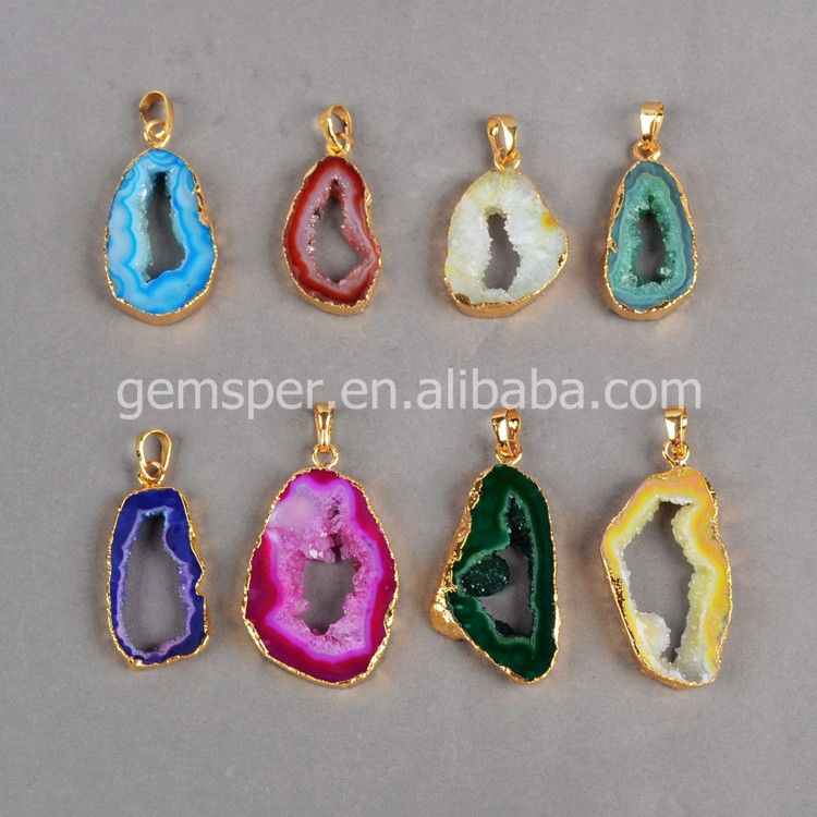Fashion wholesale freeform agate druzy geodes slice pendant with 18K gold plated edge