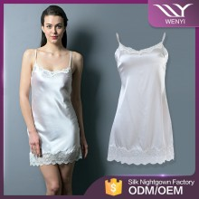 Guangzhou factory produce 100% silk women mature night dress house sleep wear