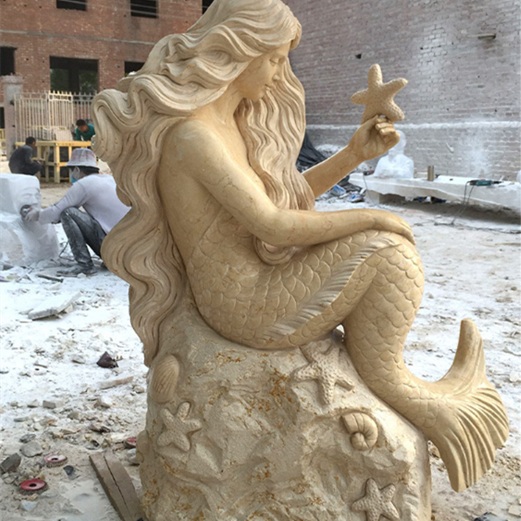 Stone Carving Mermaid Marble Sculpture Community Courtyard View European Western Stone Decoration Garden
