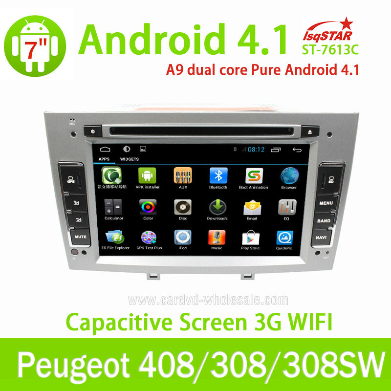 LSQ Star Capacitive Android peugeot 308 SW Car DVD Radio GPS Navigation with OBD 3G WiFi Multi-touch CPU 1.5GHZ ROM 8G