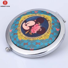 Custom Logo Small Pocket Portable Cosmetic Make Up Souvenirs Hand Single / Double Side Compact Mirror Wholesale